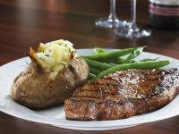 Steak with Baked Potato and Green Beans recipe