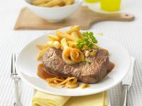 Steak with Beer-onion Sauce and Fries recipe