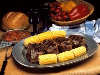 Steak with Corn on the Cob and Tomato Sauce recipe
