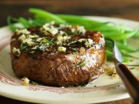 Steak with Garlic Rosemary Oil and Green Beans recipe