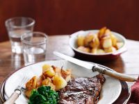 Steak with Potatoes and Spinach recipe