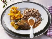 Steaks of Venison with Spaetzle and Red Wine Sauce recipe