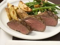 Steaks with Bacon Green Beans and Potatoes recipe