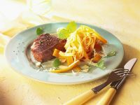 Steaks with Carrots and Tagliatelle recipe