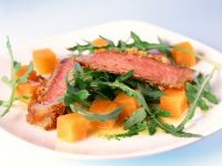 Steaks with Pumpkin and Arugula recipe