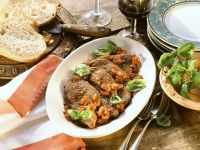 Steaks with Tomato Sauce and Basil recipe