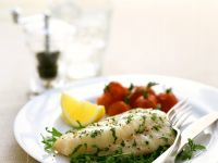 Steamed Cod Fillets with Arugula recipe