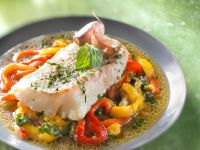 Steamed Cod Fillets with Bell Peppers and Garlic recipe