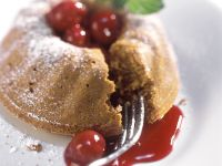 Steamed Gingerbread Pudding with Sour Cherry Sauce recipe