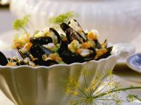 Steamed Mussels with White Wine and Brunoise Vegetables recipe