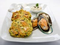 Steamed Mussels with Zucchini-Potato Pancakes recipe