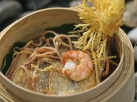 Steamed Perch with Shrimp and Rice Noodles recipe