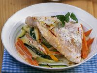 Steelhead Trout with Saffron Sauce on Vegetables recipe