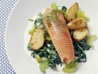 Steelhead with Spinach, Celery and Potatoes recipe