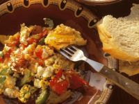 Stewed Bell Peppers and Tomatoes with Feta recipe