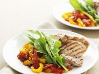 Stewed Peppers with Chicken and Arugula recipe
