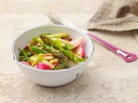 Stir-Fried Asparagus and Radishes with Toasted Pine Nuts recipe