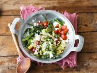 Stir-Fried Cabbage with Tomatoes, Dandelion Greens and Feta Cheese