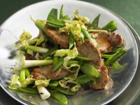 Stir-Fried Pork Cutlets with Scallions and Snow Peas recipe