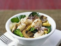 Stir Fried Squid, Vegetables and Noodles recipe
