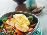 Stir-Fry Vegetables with Baked Salmon recipe