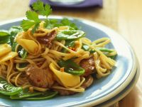 Stir Fry with Pork with Bamboo Shoots, Sugar Peas and Asian Noodles recipe