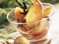 Stone Fruit with Sweet Wine Syrup recipe