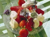 Strawberries with Whipped Cream and Violets recipe
