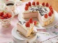Strawberry Cream Cake with Flaked Almonds to Serve Coffee recipe