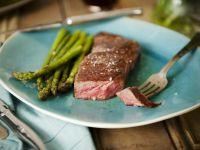 Strip Steak with Asparagus Garnish recipe