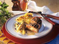 Stuffed Beef Fillet Steak with Potato Gratin recipe
