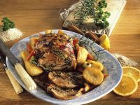 Stuffed Breast of Lamb with Potatoes, Bell Peppers and Scallions recipe