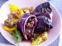 Stuffed Cabbage with Lentils, Quince and Chestnuts recipe