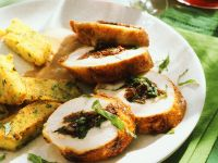 Stuffed Chicken Breasts with Polenta Cakes recipe