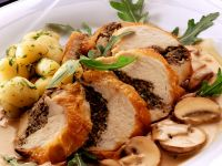 Stuffed Chicken Breasts with Swiss Chard and Mushrooms recipe