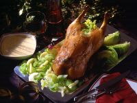 Stuffed Duck with Cabbage, Apples and Celery recipe
