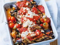 Stuffed Eggplant with Vegetables, Ricotta and Tomato Sauce recipe