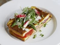 Stuffed French Toast with Asparagus and Radish Topping recipe