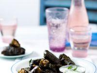 Stuffed Grape Leaves with Tzatziki Dip recipe