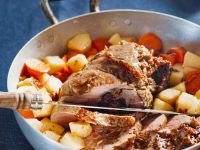 Stuffed Lamb Shoulder with Carrots and Parsnips recipe