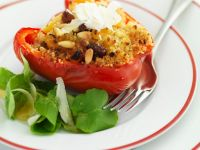 Stuffed Peppers with Couscous, Dried Fruit and Pine Nuts recipe