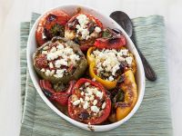 Stuffed Peppers with Couscous, Olives and Feta Cheese recipe