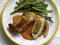 Stuffed Pork Chops with Tomato Sauce and Beans recipe