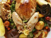 Stuffed Quail with Autumn Vegetables recipe