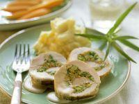 Stuffed Roast Turkey Roll with Mashed Potatoes