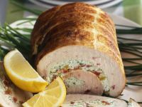 Stuffed Roast Turkey Roll with Peppers and Cheese recipe