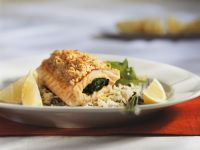 Stuffed Salmon Trout Fillets with Lemon Crust with Rice recipe