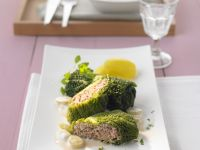 Stuffed Savoy Cabbage Leaves with Grape Sauce recipe