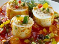 Stuffed Squid Tubes with Tomato Sauce recipe