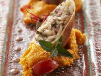 Stuffed Squid with Tomato Polenta recipe